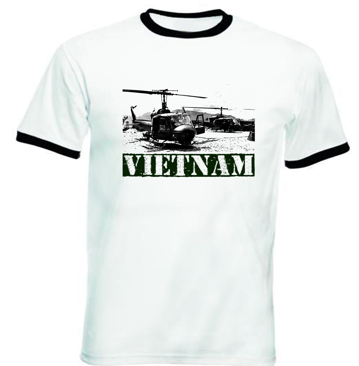Primary image for VIETNAM WAR 1 - NEW BLACK RINGER TSHIRT S-M-L-XL-XXL