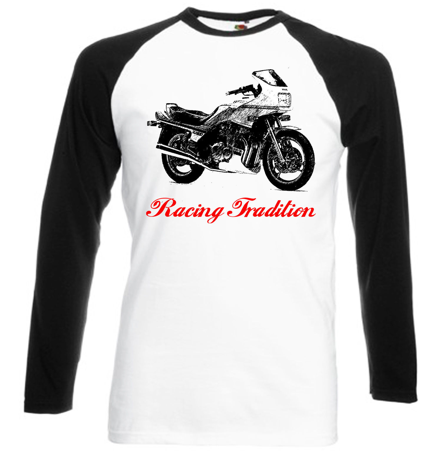 Primary image for JAPANESE MOTORCYCLE XJ 900 INSPIRED- BLACK SLEEVED BASEBALL TSHIRT S-M-L-XL-XXL