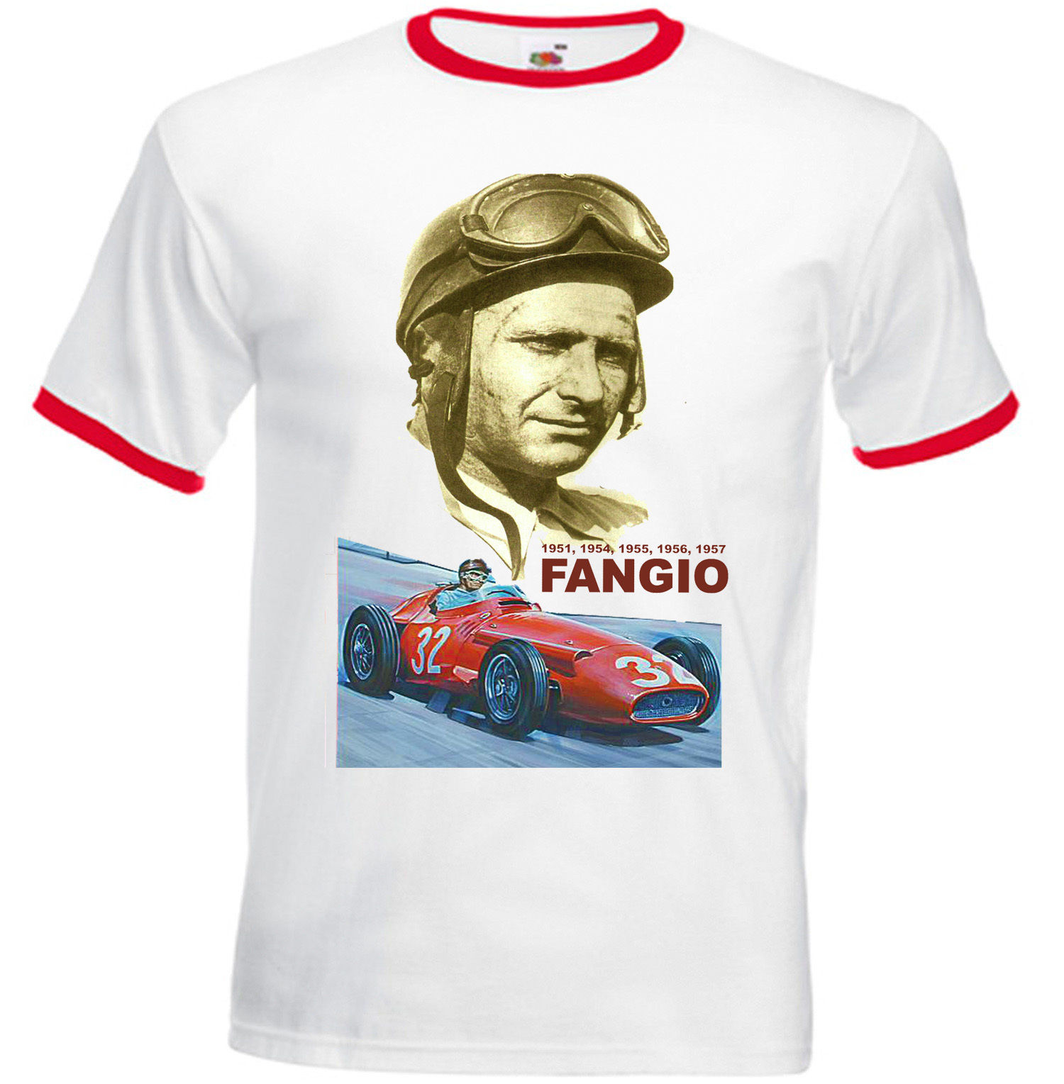 Primary image for FANGIO JUAN MANUEL CAR RACING LEGEND - RED RINGER TSHIRT