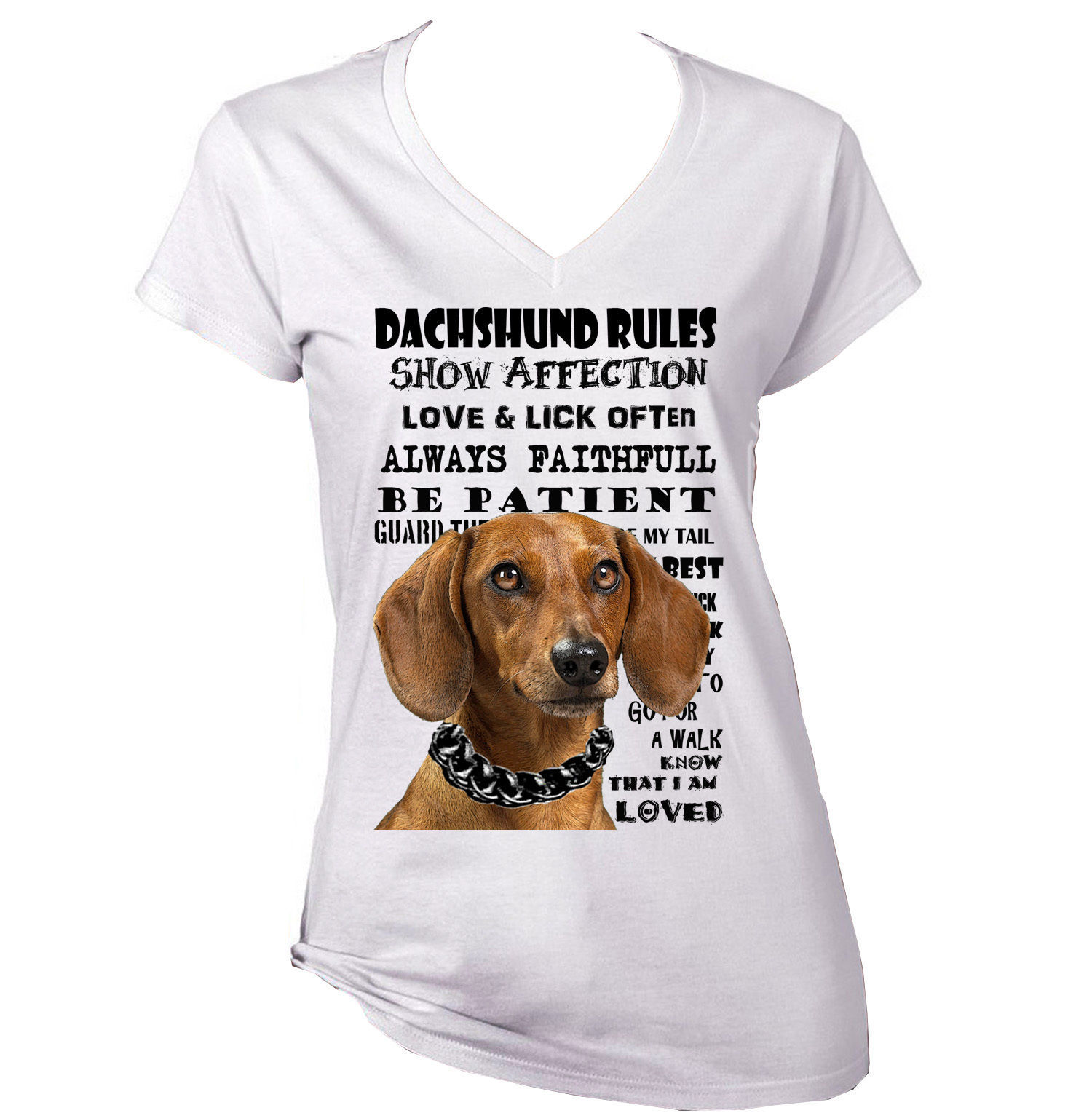 Primary image for DACHSHUND GINGER  DOG RULES. AMAZING GRAPHIC TSHIRT- S-M-L-XL-XXL