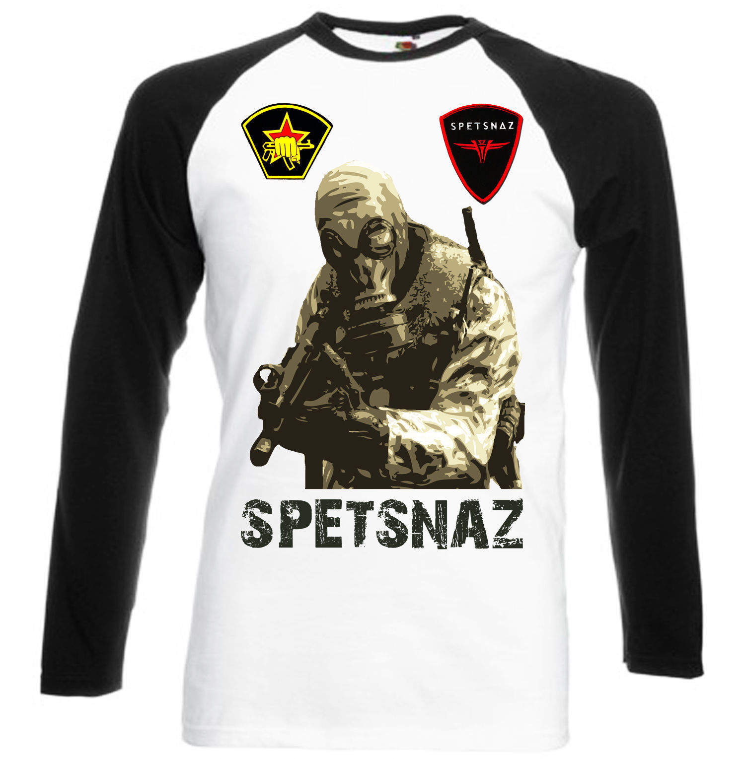 Primary image for SPETSNAZ   NEW  BLACK SLEEVED BASEBALL  T-SHIRT- S-M-L-XL-XXL