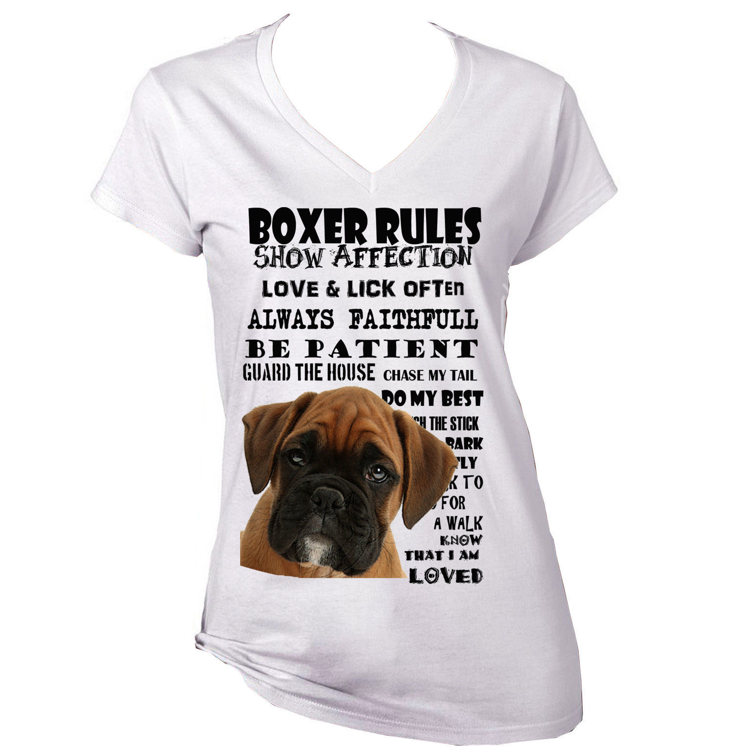 Primary image for BOXER PUPPY  DOG  DOG RULES AMAZING GRAPHIC TSHIRT- S-M-L-XL-XXL