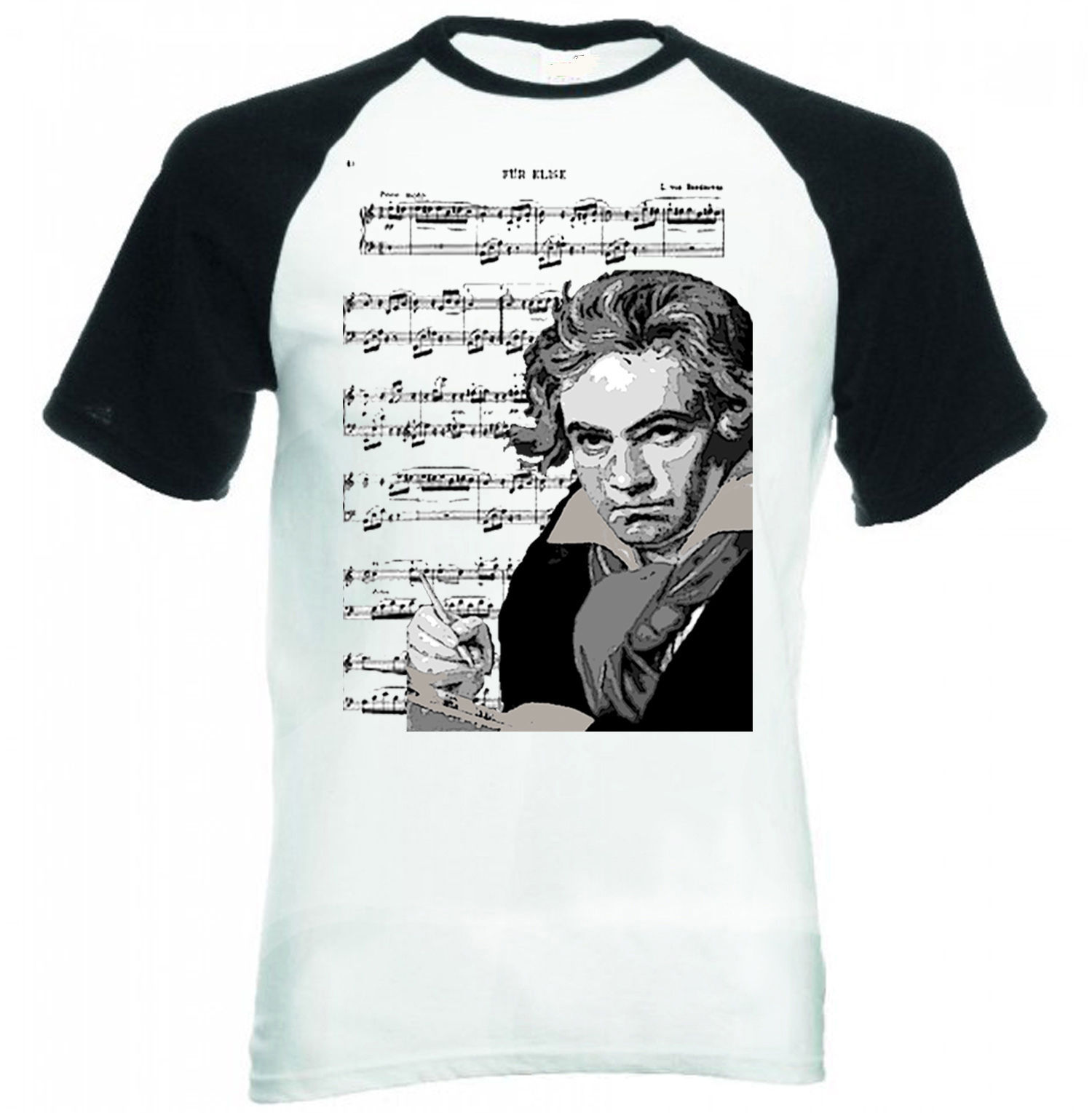 Primary image for LUDVIG VAN BEETHOVEN 2. - BLACK SLEEVED BASEBALL TSHIRT S-M-L-XL-XXL
