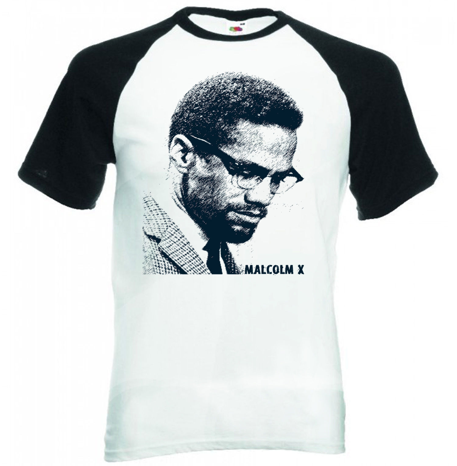 Primary image for MALCOLM X - BLACK SLEEVED BASEBALL TSHIRT S-M-L-XL-XXL