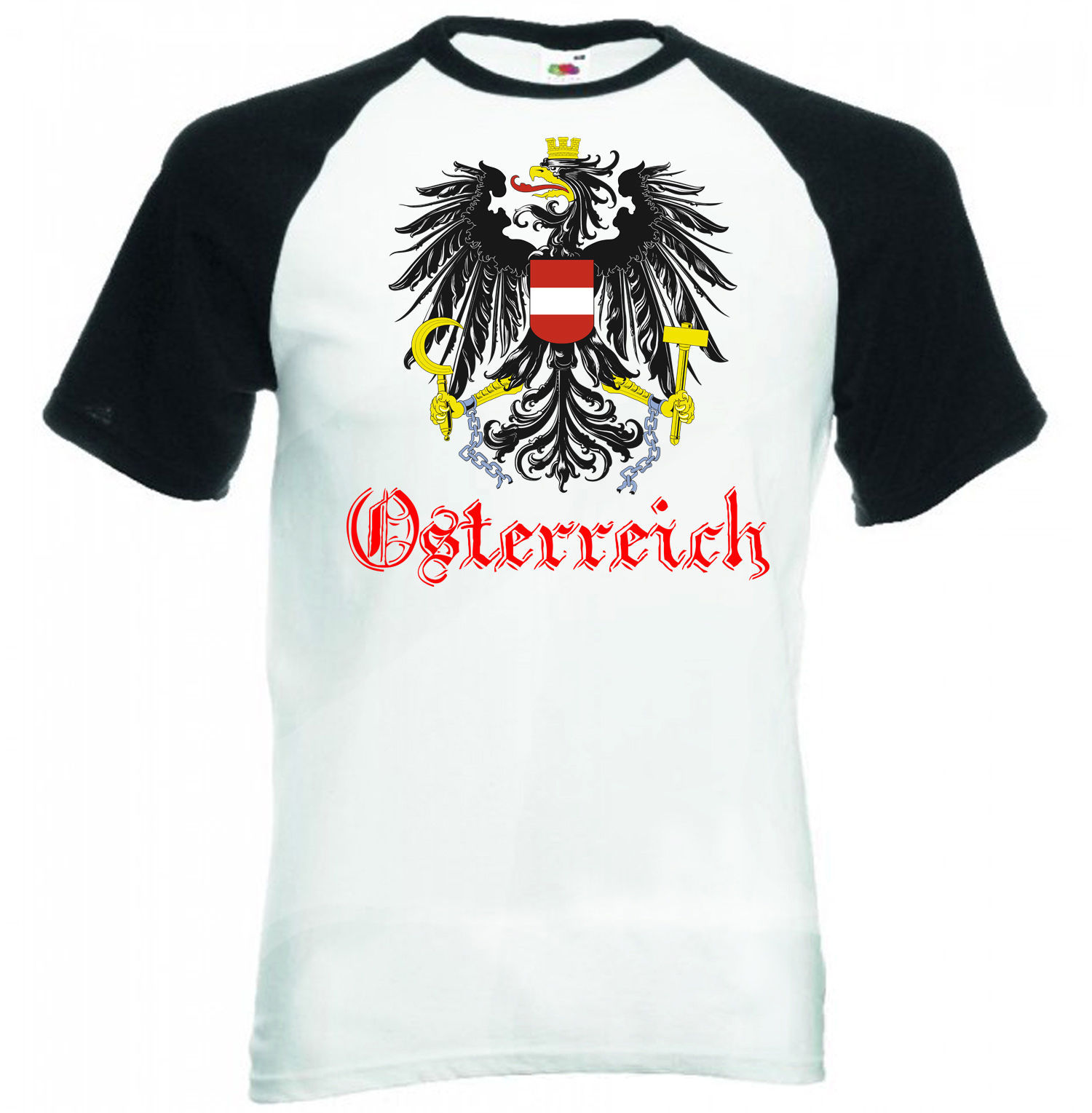 Primary image for AUSTRIA  -BLACK SLEEVED BASEBALL TSHIRT S-M-L-XL-XXL