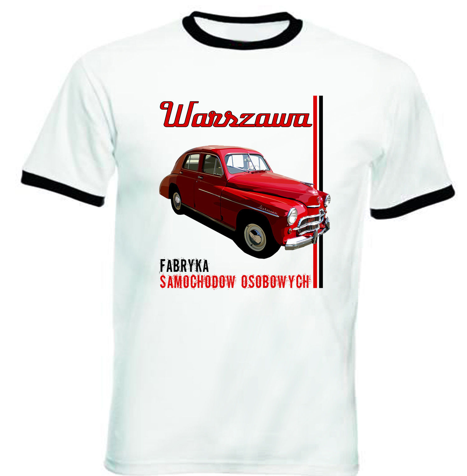 Primary image for WARSZAWA POLISH VINTAGE CAR 1 - NEW BLACK RINGER TSHIRT S-M-L-XL-XXL