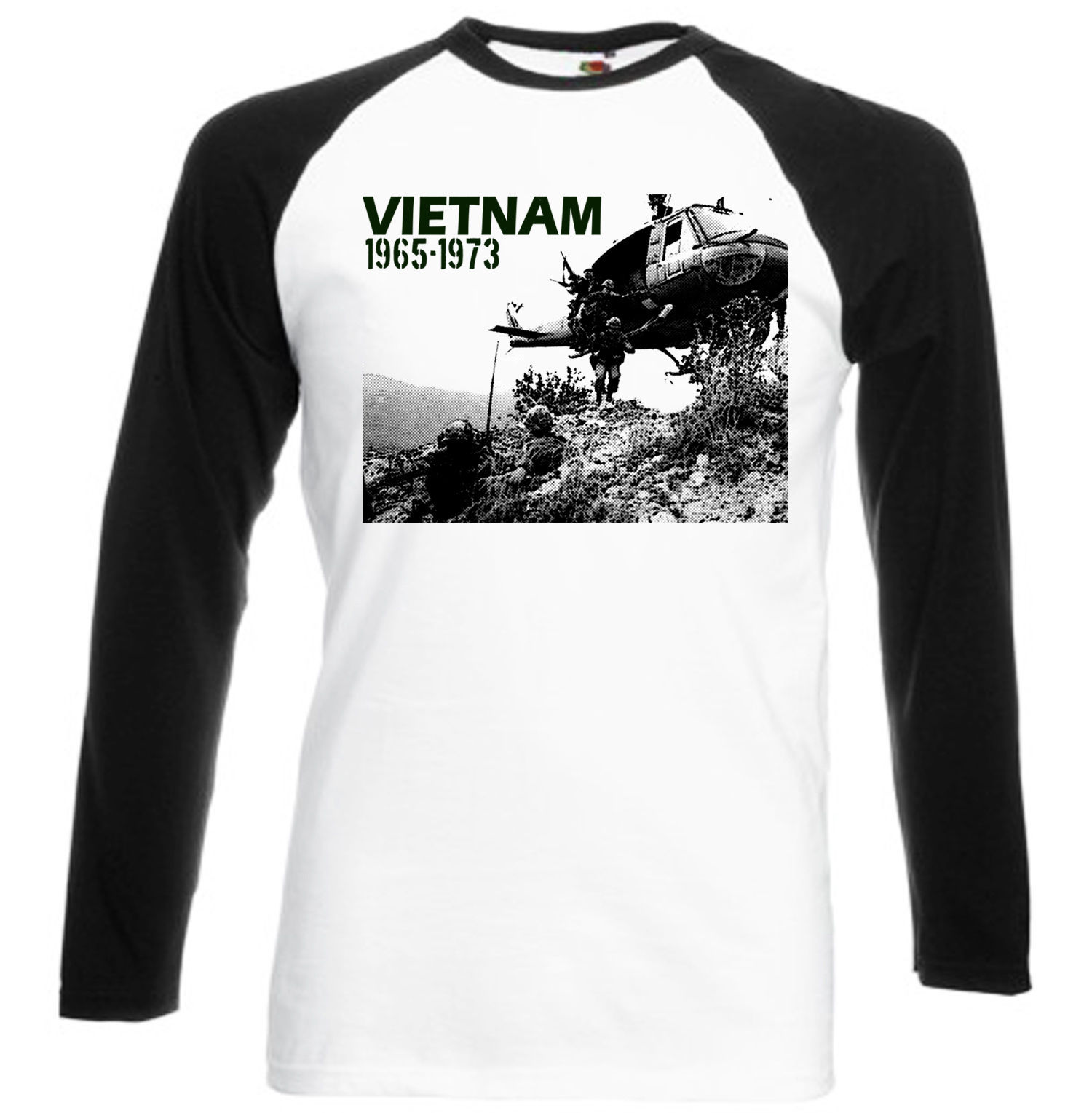 Primary image for USA VIETNAM WAR HELICOPTER - BLACK SLEEVED BASEBALL TSHIRT S-M-L-XL-XXL