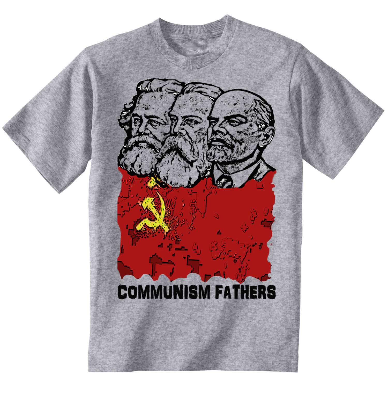 Primary image for COMMUNISM FATHERS - AMAZING GRAPHIC GREY TSHIRT- S-M-L-XL-XXL