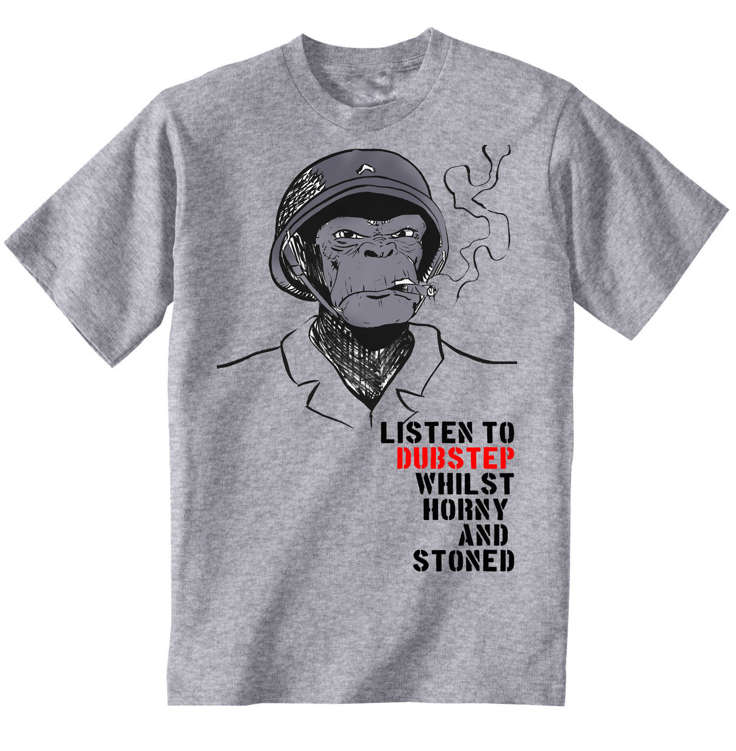 Primary image for DUBSTEP HORNY AND STONED - NEW GRAPHIC GREY TSHIRT- S-M-L-XL-XXL