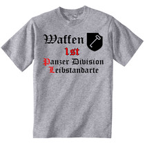 Waffen 1 St Division Leibstandarte Germany Wwii   New Coton Grey Tshirt - $37.14