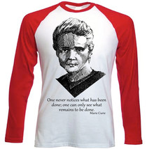 Curie Marie     New Red Long Sleeves Tshirt S M L Xl Xxl - $27.61