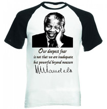 Nelson Mandela Deepest Fear Quote    New Black Sleeved Baseball Tshirt - $38.55