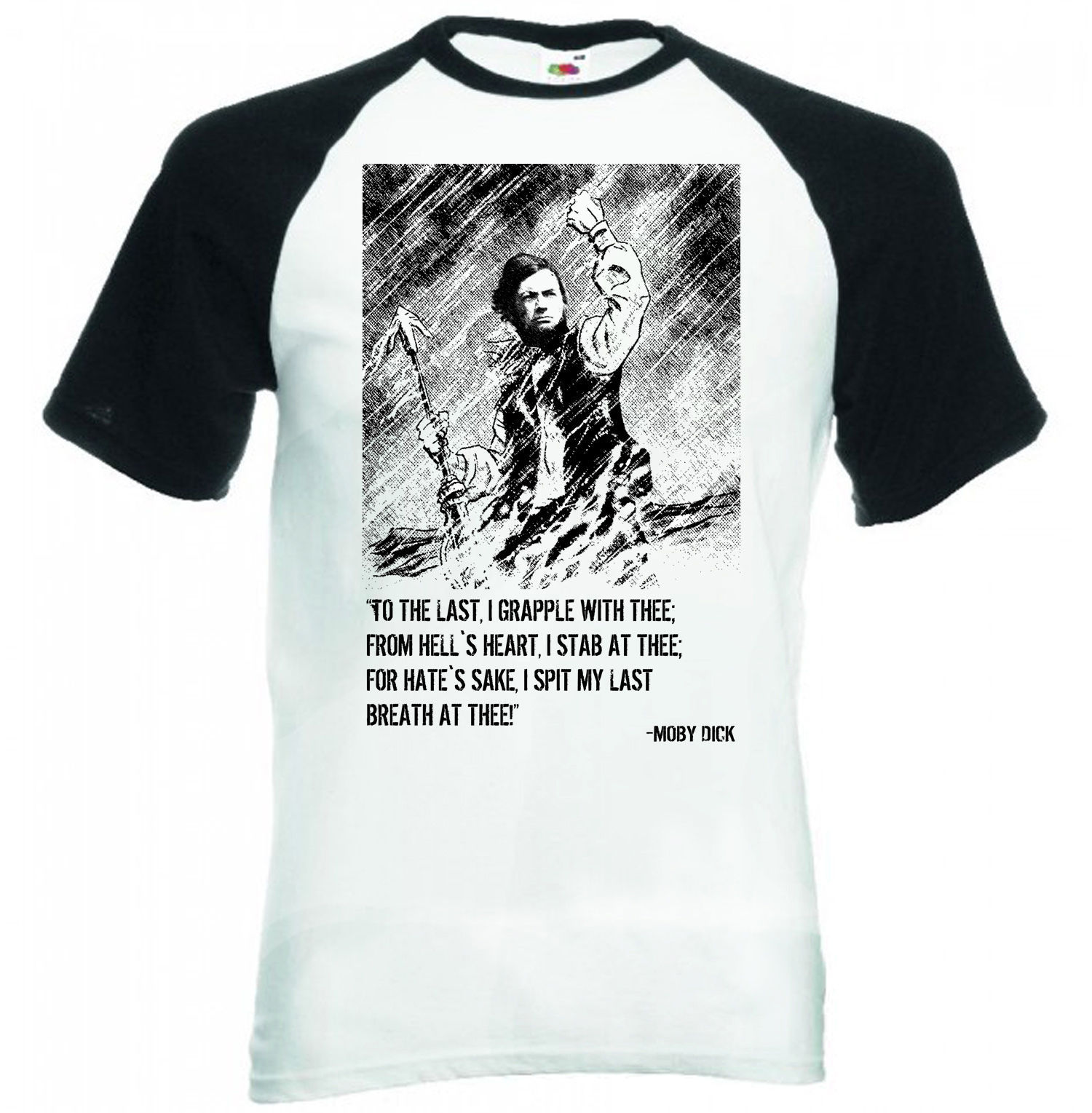 MELVILLE MOBY DICK  - BLACK SLEEVED BASEBALL TSHIRT S-M-L-XL-XXL - $38.39