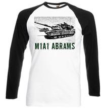 M1 A1 Abrams Combat Tank   Black Sleeved Baseball T Shirt S M L Xl Xxl - $38.39
