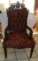 Quartersawn Oak Sea Urchin Carved Armchair Parlor Chair  (AC154) - $1,499.00