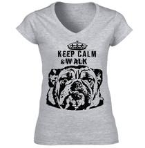 British Bulldog Brown Keep Calm & Walk P Amazing Cotton Grey Tshirt S M L Xl Xxl - $25.43