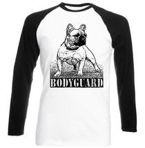 French Bulldog Bodyguard   Black Sleeved Baseball Tshirt S M L Xl Xxl - $27.61