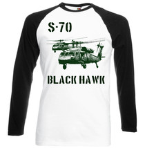 S 70 Black Hawk   Black Sleeved Baseball T Shirt S M L Xl Xxl - $38.39
