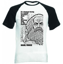 Karl Marx If A Human  Quote    Black Sleeved Baseball Tshirt S M L Xl Xxl - $27.61