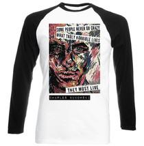 Bukowski Charles Quote     New Black Sleeved Baseball Tshirt S M L Xl Xxl - $37.94