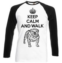 Keep Calm And Walk The British Bulldog   Baseball Tshirt S M L Xl Xxl - $27.61
