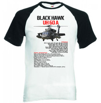 Black Hawk Uh 60 A   Black Sleeved Baseball Tshirt S M L Xl Xxl - $39.25