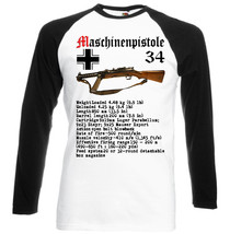 Maschinenpistole 34 Germany Wwii   Black Sleeved Baseball Tshirt S M L Xl Xxl - $27.40