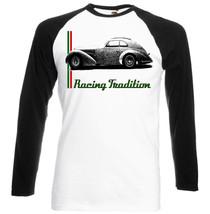 Italian Car  Romeo 8 C 2900 Inspired   Black Sleeved Baseball Tshirt S M L Xl Xxl - $27.47