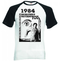 1984 GEORGE ORWELL - BLACK SLEEVED BASEBALL TSHIRT S-M-L-XL-XXL - $26.46