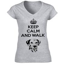 Dalmatian Keep Calm And Walk   Cotton Grey Tshirt S M L Xl Xxl - $35.01