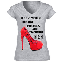 Shoe Quote Keep Your Head Heels  New Amazing Graphic Grey T Shirt   S M L Xl Xxl - $35.64