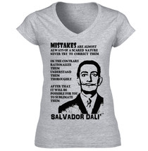 Salvador Dali Mistakes  Quote   Amazing Graphic Grey T Shirt   S M L Xl Xxl - $23.97