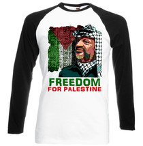 Arafat Yasser Freedom For Palestine  Black Sleeved Baseball Tshirt S M L Xl Xxl - $37.84