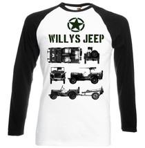 Willys Jeep Wwii Usa 3   Black Sleeved Baseball Tshirt S M L Xl Xxl - $39.25