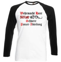 Wehermacht 501st Schwere Panzer   Black Sleeved Baseball Tshirt S M L Xl Xxl - $37.84