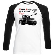 Afrika Korps Otto Carius Tiger   Black Sleeved Baseball Tshirt S M L Xl Xxl - $37.94