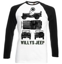 Willys Jeep Wwii Usa 2   Black Sleeved Baseball Tshirt S M L Xl Xxl - $27.61