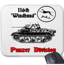 116 Th Windhund Panzer Division Germany Wwii Mouse Mat/Pad Amazing Design - $13.94