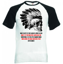 Native Indian Skull   Black Sleeved Baseball Tshirt S M L Xl Xxl - $27.61