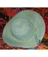 Ladies Wide Brimmed Straw Hat: Aqua  & Silver Threads Crushable Hat - $16.95