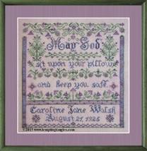 Bedtime Blessing Birth Sampler cross stitch chart Tempting Tangles - $14.40