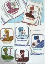 Bonnet / Sunbonnet Girls DOW  days of week TOWELS embroidery pattern Mc2... - $5.00