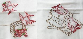 Birds in the Kitchen Dish Towels embroidery pattern AB7017  - $5.00