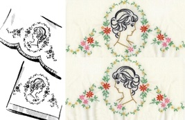 CAMEO Southern Belle - Old Fashion Lady pillowcase embroidery pattern mo... - $5.00