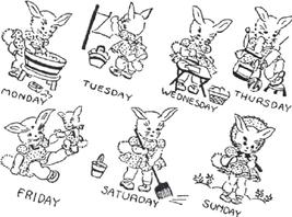 Bunny/ Rabbit GIRL week days TOWELS embroidery pattern AC5325  - $5.00