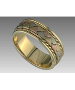 Tritone Tricolor 3 Color Weave Wedding Anniversary Ring 14kt Gold Size 1... - $429.00