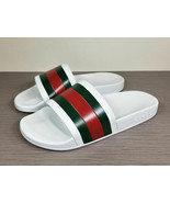 Gucci White Pursuit Pool Slides, White Rubber, Mens Size 10 - $218.39