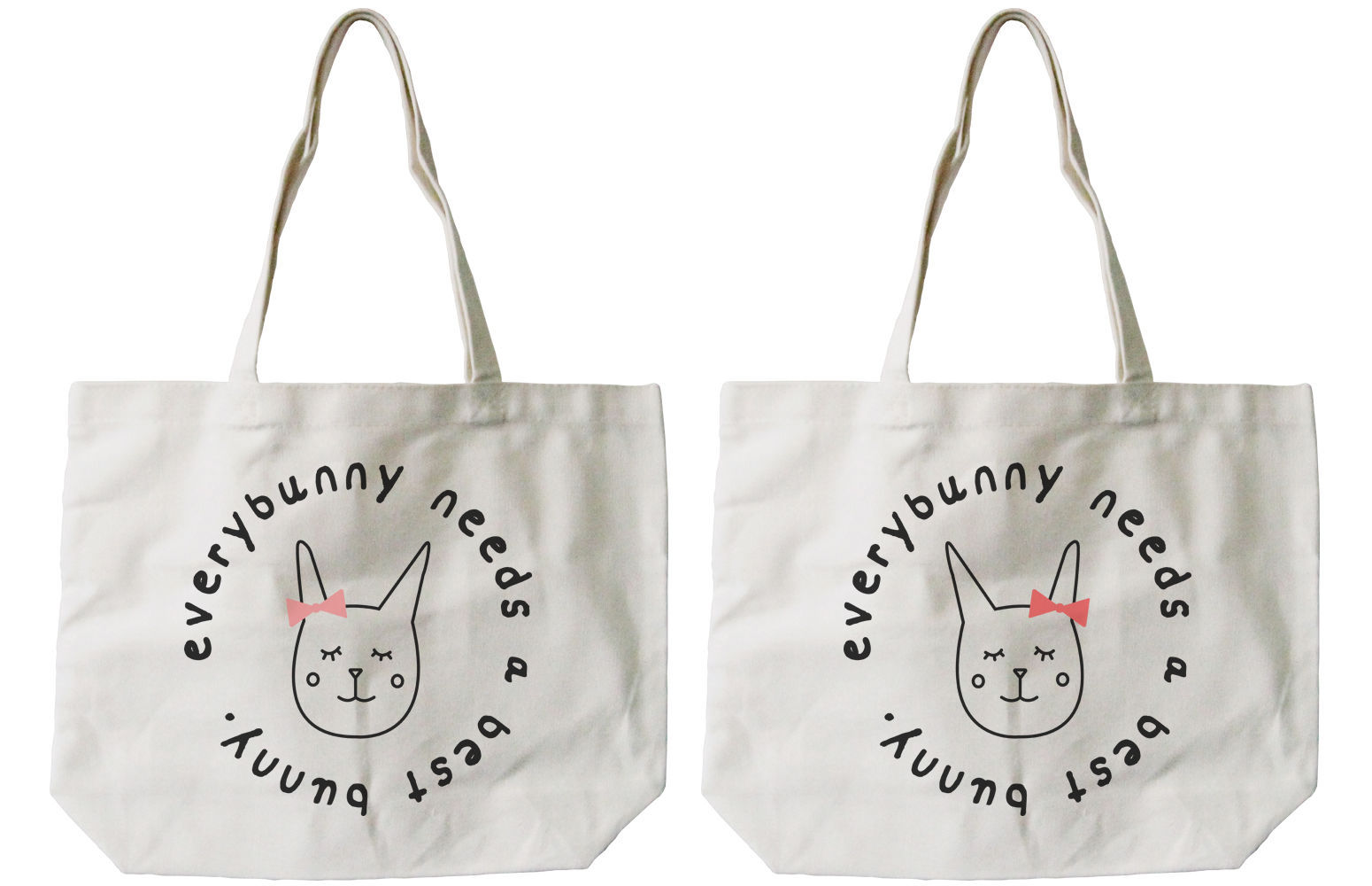 Primary image for Every Bunny Needs a Best Bunny BFF Matching Cotton Canvas Tote Bags, Book Bags