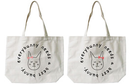 Every Bunny Needs a Best Bunny BFF Matching Cotton Canvas Tote Bags, Boo... - $41.19 CAD