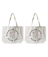 Every Bunny Needs a Best Bunny BFF Matching Cotton Canvas Tote Bags, Boo... - $30.99